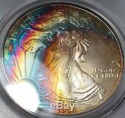1998 American Silver Eagle PCGA MS68 REAL Rainbow Toned Vibrant Vivid Color