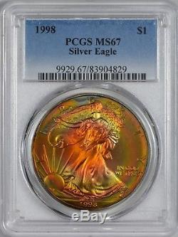 1998 American Silver Eagle PCGS MS67 Phenomenal Toning
