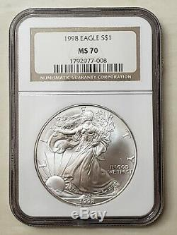 1998 NGC MS70 $1 Silver American Eagle 1 OZ. 999 Fine