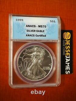 1999 $1 American Silver Eagle Anacs Ms70 Blue Label Key Date