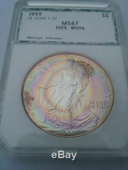 1999 ASE American Silver Eagle MS67 PCGS PCI Beautiful Bullseye Toning