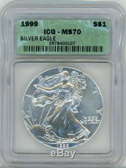 1999 American Silver Eagle Dollar $1, MS 70 ICG