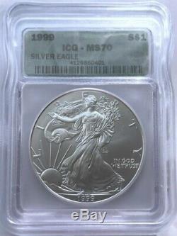 1999 American Silver Eagle ICG MS70 Rare Date
