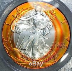 1999 American Silver Eagle PCGS MS67 Absolutely Vibrant Sunburst Rainbow Toned