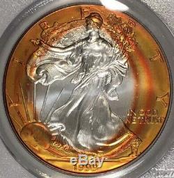 1999 American Silver Eagle PCGS MS67 Vibrant Sunburst Tangerine Rainbow Toned