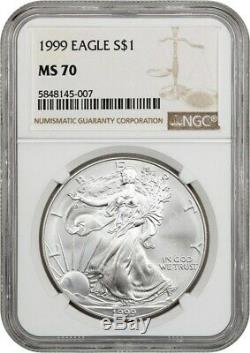 1999 Silver Eagle $1 NGC MS70 American Eagle Silver Dollar ASE