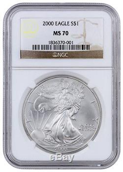 2000 1 Troy Oz American Silver Eagle NGC MS70 (Mint State 70) SKU20873