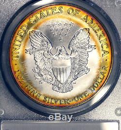 2000-P MS68 American Silver Eagle ASE $1, PCGS Graded, Colorful PCI Toned