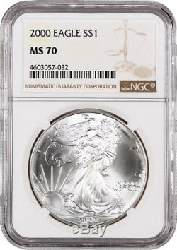 2000 Silver Eagle $1 NGC MS70 American Eagle Silver Dollar ASE