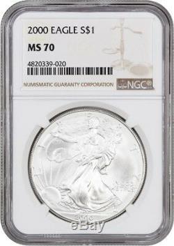 2000 Silver Eagle $1 NGC MS70 American Eagle Silver Dollar ASE