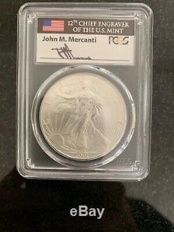 2001 $1 Silver American Eagle PCGS MS70 Mercanti Pop 17