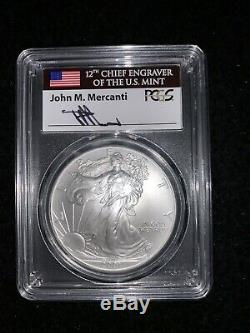 2001 $1 Silver American Eagle PCGS MS70 Mercanti Pop 17