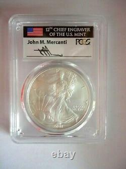 2001 $1 Silver Eagle PCGS MS70 Mercanti Signed Flag Label