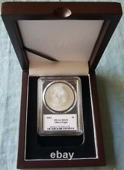2001 $1 Silver Eagle PCGS MS70 Mercanti Signed Flag Label VERY RARE In Hand