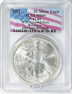 2001 American Eagle Silver Dollar 9/11/01 WTC GROUND ZERO RECOVERY PCGS MS 69