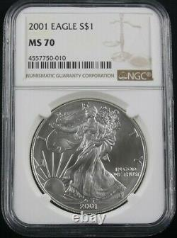 2001 American Silver Eagle Ngc Ms 70