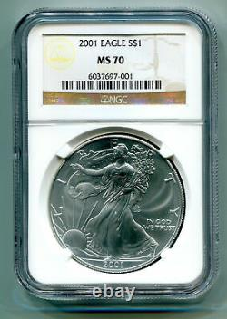 2001 American Silver Eagle Ngc Ms70 Brown Ms 70 Nice Coin And Slab Bobs Coins