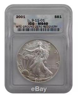 2001 ICG MS69 American Silver Eagle World Trade Center Ground Zero WTC Recovery