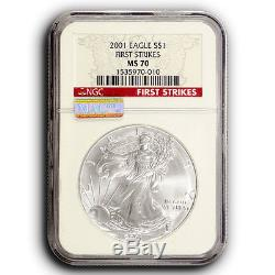 2001 NGC MS70 FIRST STRIKES MAC Certified American Silver Eagle Actual Coin