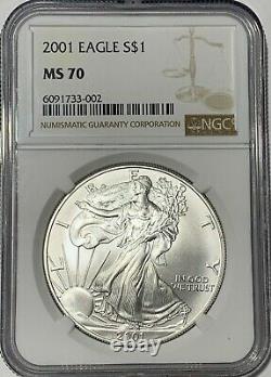2001 Ngc Ms 70 $1 Silver American Eagle 1 0z. 999 Fine Bullion Gem Uncirculated