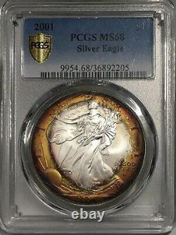 2001-P American Silver Eagle PCGS MS68 Orange Rainbow Toned3Day Super Sale