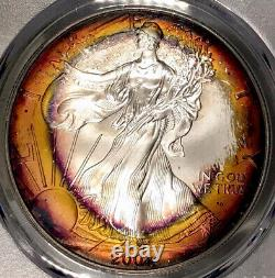 2001-P American Silver Eagle PCGS MS68 Orange Sunburst Rainbow Toned