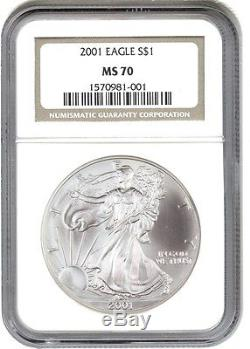 2001 Silver Eagle $1 NGC MS70 American Eagle Silver Dollar ASE