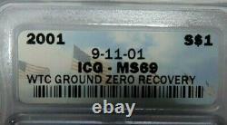 2001 Wtc Ground Zero Recovery 9-11-01 American Silver Eagle Icg Graded Ms69