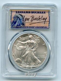 2002 $1 American Silver Eagle PCGS MS70 Leonard Buckley