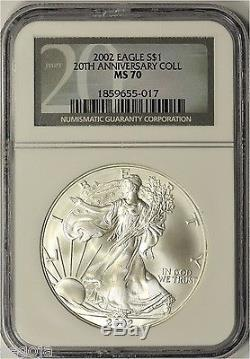 2002 American Silver Eagle 20th Anniversary Collection NGC MS70