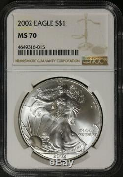 2002-P Silver American Eagle $1 NGC MS70 Brown Label Superb Eye Appeal