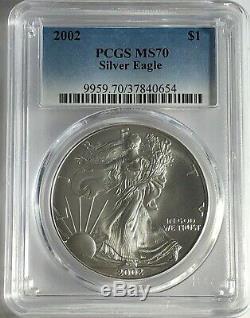 2002 Pcgs Ms70 Silver American Eagle Mint State 1 Oz. 999 Fine Bullion