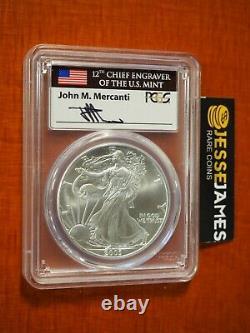 2003 $1 American Silver Eagle Pcgs Ms70 John Mercanti Signed Flag Label Pop 62