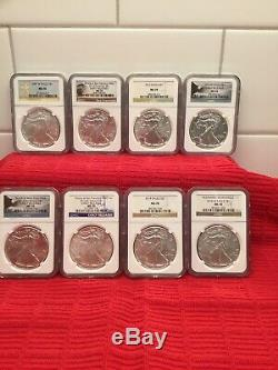 2003-2020 NGC American Silver Eagles MS70 41 PERFECT Coins. Mints P, W, (W), (S)