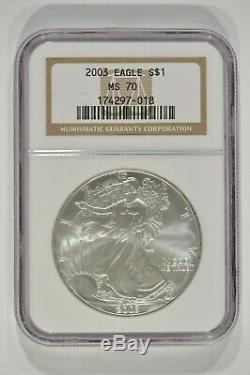 2003 American Silver Eagle $1 NGC MS70 Brown Label 174297-018