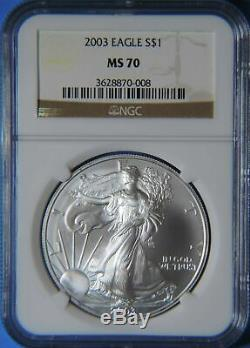 2003 American Silver Eagle ASE 1oz. 999 Coin NGC Graded MS70