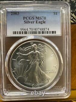 2003 American Silver Eagle PCGS MS70 Silky Luster Spot & Problem Free