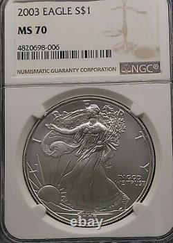 2003 NGC MS70 Certified American Silver Eagle Dollar $1 Scuffs on Holder