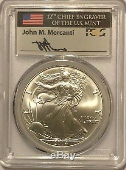 2004 $1 Pcgs Ms70 First Strike Fs Silver American Eagle Signed By John Mercanti