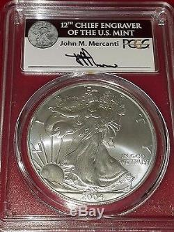 2004 PCGS MS70 American Silver Eagle Signed by John Mercanti
