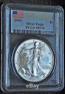 2004 Silver American Eagle F S Pcgs Ms70 A Pristine Rare Beautypop 1,071