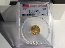 2005 1/10oz $5 American Gold Eagle PCGS MS69 First Strike Flag Label. BL12