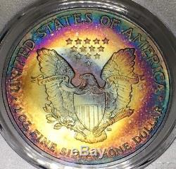 2005 American Silver Eagle PCGS MS68 Gorgeous Vibrant Rainbow Tone Toned
