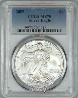 2005 American Silver Eagle PCGS MS70 Brilliant Silky White Problem Free