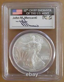 2005 American Silver Eagle PCGS MS70 Signed Mercanti First Strike RARE