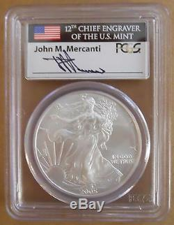 2005 American Silver Eagle PCGS MS70 Signed Mercanti First Strike RARE PCGS $950