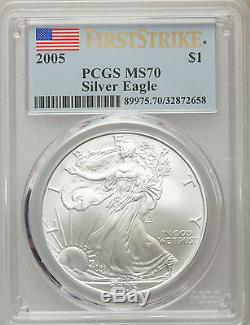 2005 Flag Label First Strike Silver American Eagle $1 PCGS MS 70