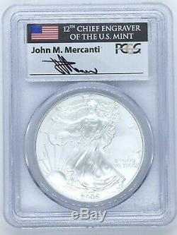 2005 Silver American Eagle MS-70 PCGS First Strike Mercanti Signed