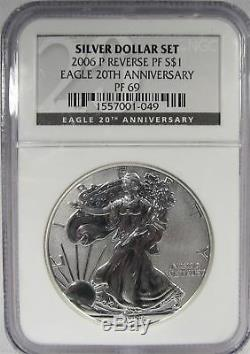 2006/11 American Silver Eagle 3 Coin Set NGC MS70 PF70 PF64 AG907