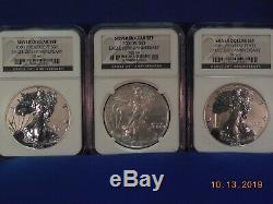 2006 20 Anniversary N. G. C. Silver American Eagle (3 Coin) Set. MS&PF. 69
